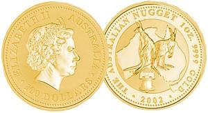 Australija zlatnik kangaroo nugget