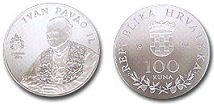 Srebrnjak 100 kuna papa Ivan Pavao II